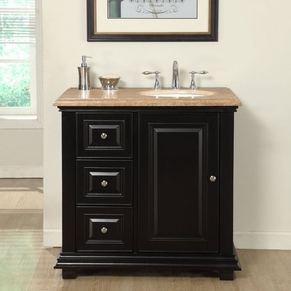 Silkroad Exclusive 36-inch Travertine Stone Top Bathroom Single Vanity with Sink on the Right