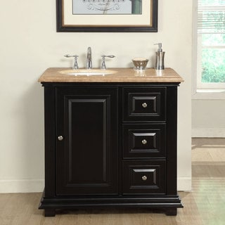 Silkroad Exclusive 36-inch Travertine Stone Top Bathroom Single Vanity with Sink on the Left