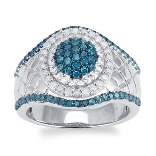 Sterling Silver 1.00cttw Blue and White Diamond Halo Texture Ring (H-I, I2-I3)