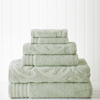 6-piece Jacquard/Solid Medallion Swirl Towel Set