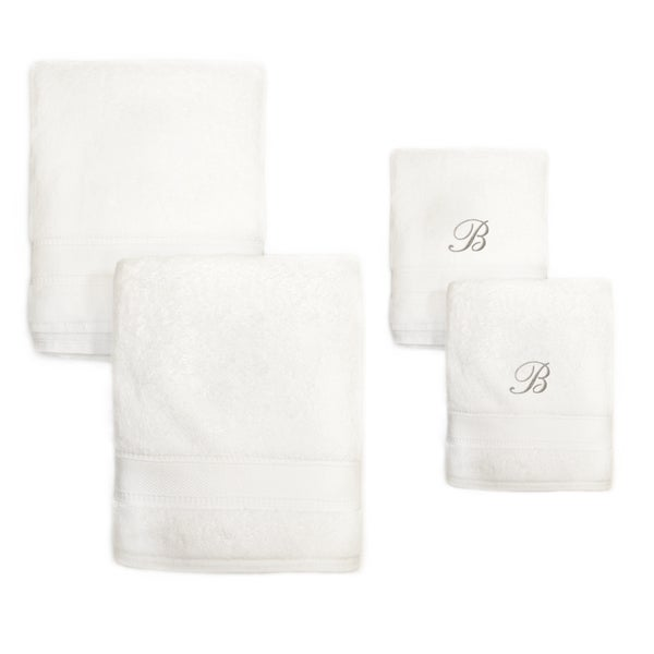 Authentic Hotel and Spa 4-piece White Turkish Cotton Towel Set with Silver Script Monogrammed Initial