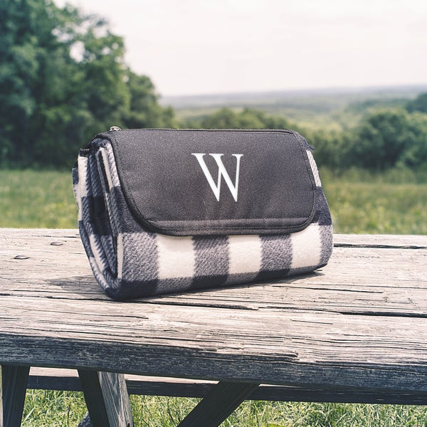 Personalized Black & White Plaid Tailgate Picnic Blanket