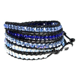 Beautiful Sparkling Blue Crystal Bead Black Leather 5-times Wrap Bracelet