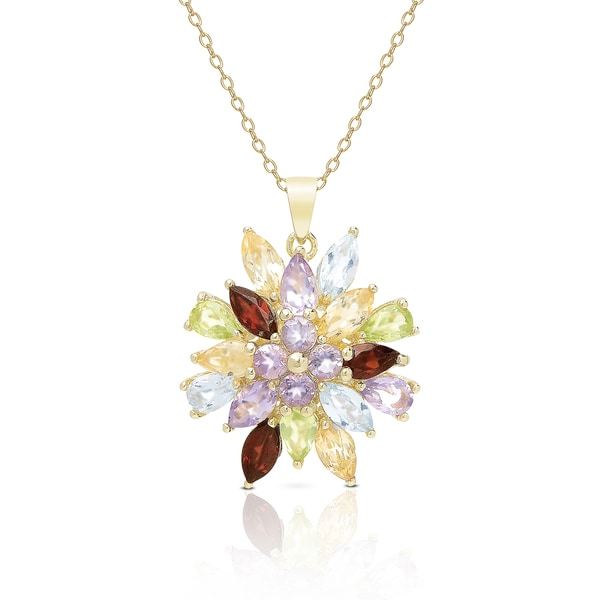 Dolce Giavonna Gold Over Sterling Silver Multi Gemstone Flower Necklace
