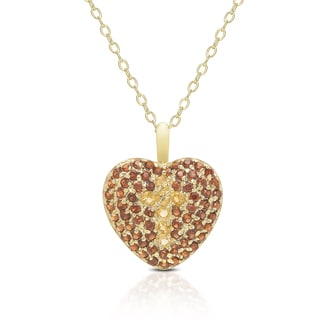 Dolce Giavonna Gold Over Sterling Silver Gemstone Heart Necklace With Cross