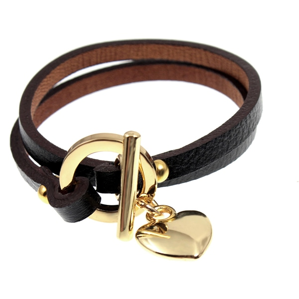 Heart Dangle Black Leather Double Wrap Goldtone Toggle Clasp Bracelet