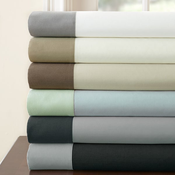 400 Thread Count 100-percent Cotton 4-piece Sheet Set with Contrast Hem King Size(As Is Item)