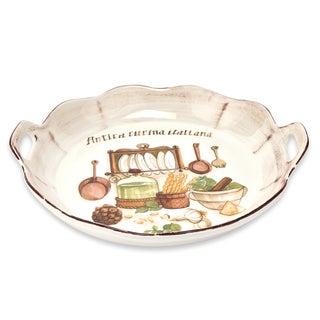 Italian Cucina 15-inch Round Scalloped Bowl with Handles