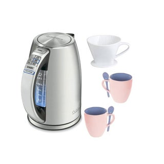 Cuisinart CPK-17 PerfecTemp Cordless Electric Kettle + 12-Ounce Mugs (2-Pack) + Porcelain Coffee Filter Cone (Size 4)