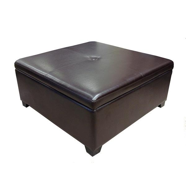 Corbett Bonded Leather Coffee Table Storage Ottoman 17412890 - Leather Ottomans Coffee Tables