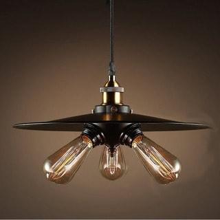 Shandi 3-light Black Adjustable Height 16-inch Edison Pendant with Bulbs