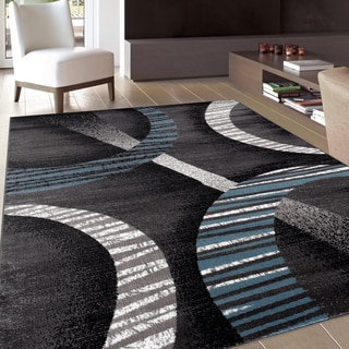 Modern Contemporary Soft Blue/ Grey Area Rug (3'3 x 5')