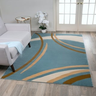Contemporary Modern Wavy Circles Blue Area Rug (3'3 x 5')
