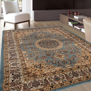 Traditional Oriental Medallion Design Blue Area Rug (5'3 x 7'3)