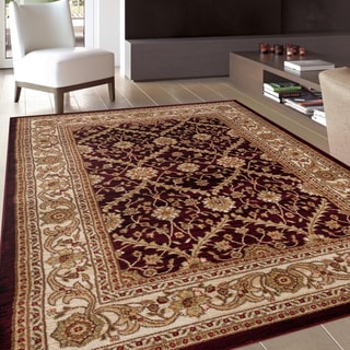 Oriental Design Floral Burgundy Area Rug (5'3 x 7'3)