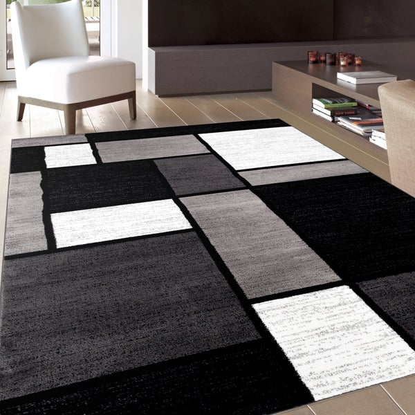 Contemporary Modern Boxes Grey Area Rug 5 3 X 7 3