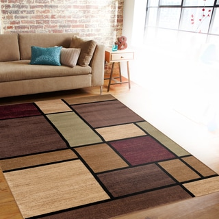 Contemporary Modern Boxes Multi Area Rug (2' x 3')