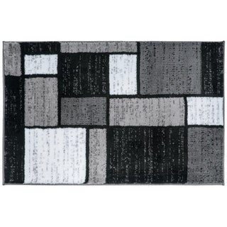 Contemporary Modern Boxes Grey Area Rug (2' x 3')