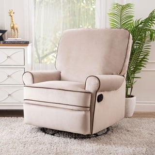 ABBYSON LIVING Bentley Sand Fabric Swivel Glider Recliner Chair