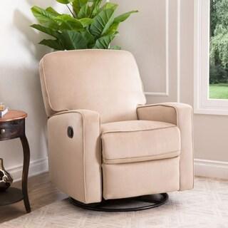 ABBYSON LIVING Bella Beige Fabric Swivel Glider Recliner Chair