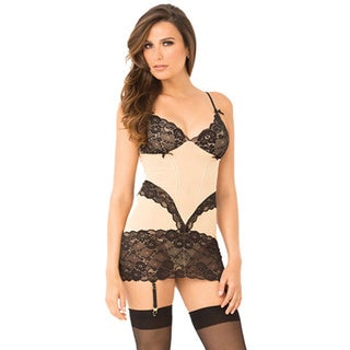 Rene Rofe Lace & Mesh Chemise & G-String Set in Nude