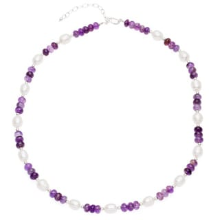 Pearl with Amethyst 18-inch Necklace