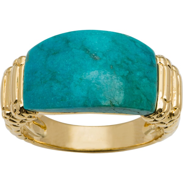 Turquoise Magnesite Goldplated Ring