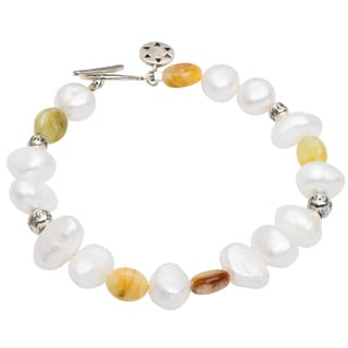 Sterling Silver Pearl and Agate Toggle 8.5-inch Bracelet