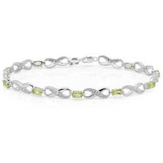 Sterling Silver Oval-cut Peridot Diamond Accent Infinity Link Tennis Bracelet
