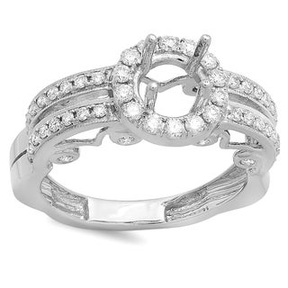 14k White Gold 3/4ct TDW Round Diamond Bridal Semi-mount Engagement Ring (H-I, I1-I2)