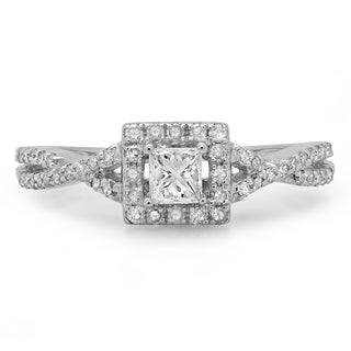 14k White Gold 1/2ct TDW Princess and Round Diamond Swirl Split Shank Halo Engagement Ring (H-I, I1-I2)