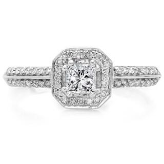 14k White Gold 5/8ct TDW Diamond Halo Engagement Ring (H-I, I1-I2)