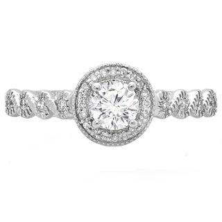 14k White Gold 3/5ct TDW Diamond Vintage Millgrain Halo Engagement Ring (H-I, I1-I2)