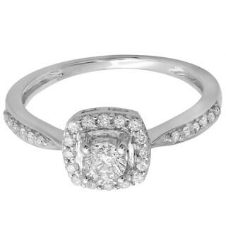 14k White Gold 1/2ct TDW Round Diamond Halo Engagement Ring (H-I, I1-I2)
