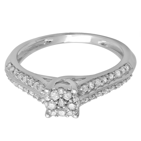 14k White Gold 1/2ct TDW Round-cut Diamond Cluster Engagement Ring (H-I, I1-I2)