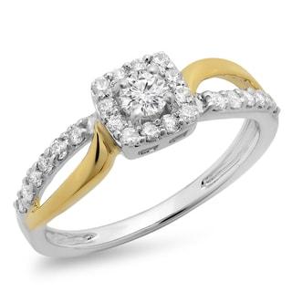 14k Two-tone Gold 3/5ct TDW Round-cut Diamond Split Shank Halo Engagement Ring (H-I, I1-I2)