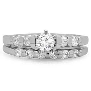 14k White Gold 1ct TDW Diamond Solitaire Bridal Ring Set (H-I, I1-I2)