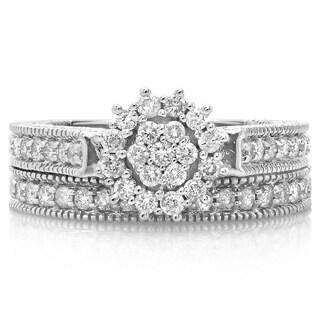 14k White Gold 7/8ct TDW Diamond Cluster Vintage Style Bridal Ring Set (H-I, I1-I2)