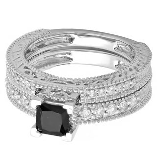 14k White Gold 1 1/2ct TDW Princess Black and White Diamond Bridal Ring Set (H-I,I1-I2)