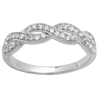 14k White Gold 1/3ct TDW Round Diamond Anniversary Stackable Swirl Ring (H-I, I1-I2)