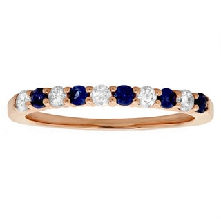 14k Rose Gold 1/4ct TDW Diamond and Blue Sapphire Stackable Anniversary Band (H-I, I1-I2)