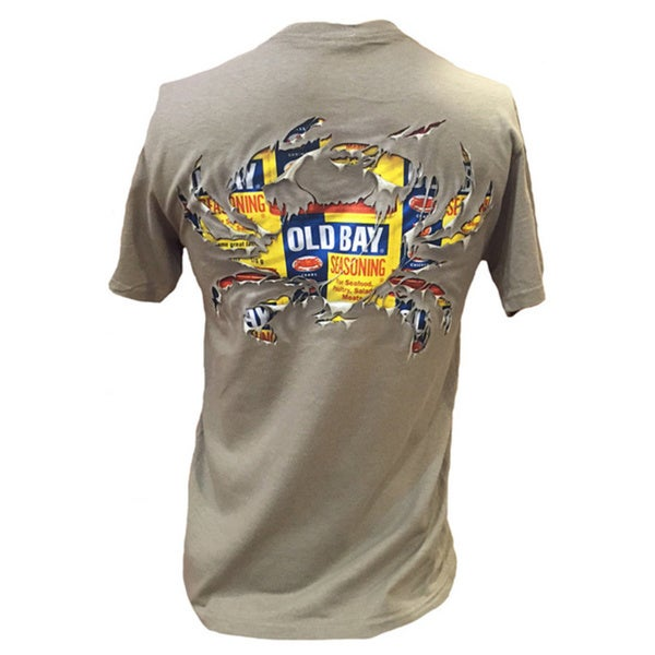Men's Old Bay Seasoning Cotton Ripped Crab Design T-shirt