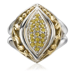 Avanti Palladium Silver and 18k Yellow Gold Yellow Sapphire Fashion Ring