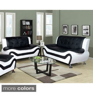 Ceccina 2-pc Modern Leather Living Room Sofa and Loveseat set