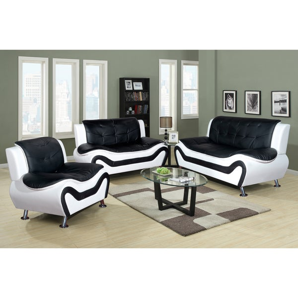 Ceccina 3 pc modern leather living room sofa set for Modern living room sets