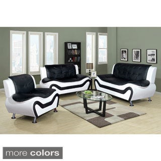 Ceccina 3-pc Modern Leather Living Room Sofa set