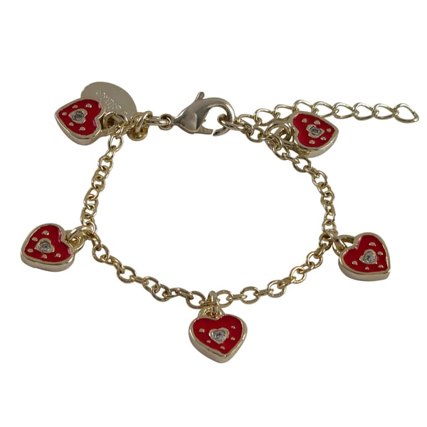 Gold Finish Enamel and Crystal Heart Girls Charm Bracelet