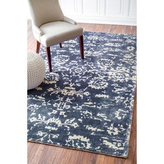 nuLOOM Handmade Vintage Abstract Wool Blue Rug (7'6 x 9'6)