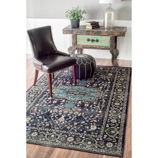 nuLOOM Oriental Vintage Viscose Traditional Fancy Charcoal Rug (7'8 x 9'6)