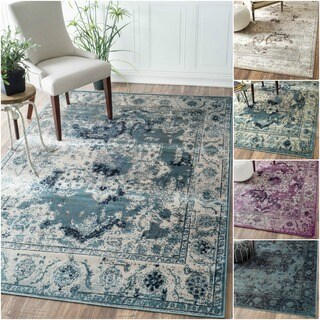 nuLOOM Oriental Vintage Viscose Traditional Fancy Rug (7'8 x 9'6)